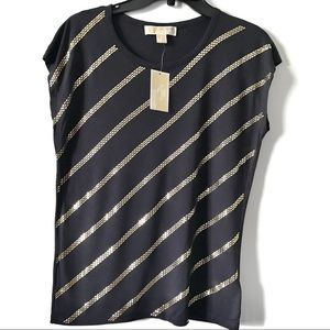 New w/tags Michael Kors Navy studded top sz S